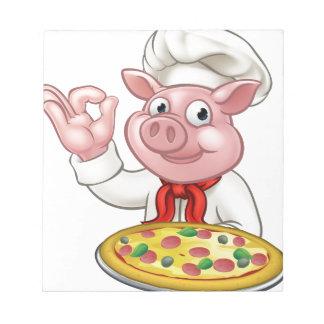 Cartoon Pizza Chef Pig Character Mascot Notepad