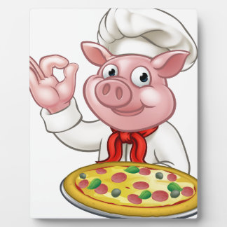 Cartoon Pizza Chef Pig Character Mascot Plaque