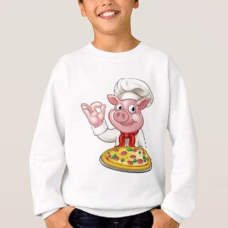 Cartoon Pizza Chef Pig Character Mascot Sweatshirt