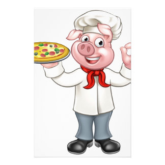 Cartoon Pizza Chef Pig Character Stationery