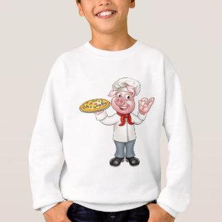 Cartoon Pizza Chef Pig Character Sweatshirt
