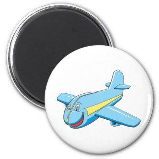 Cartoon plane 6 cm round magnet