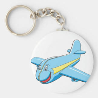 Cartoon plane basic round button key ring