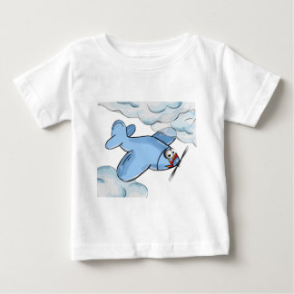 cartoon plane flying though the clouds baby T-Shirt