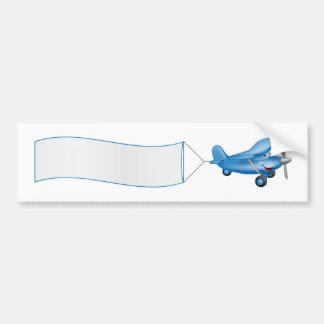 Cartoon plane mascot towing banner bumper stickers