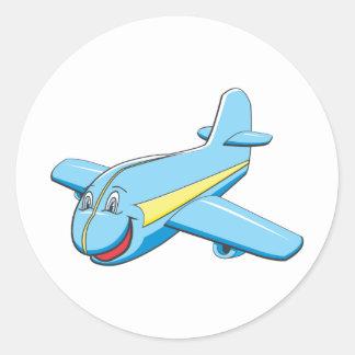 Cartoon plane round sticker