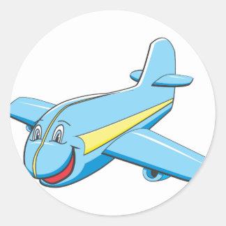 Cartoon plane round stickers