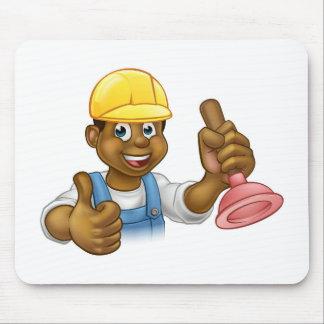 Cartoon Plumber Handyman Holding Punger Mouse Pad