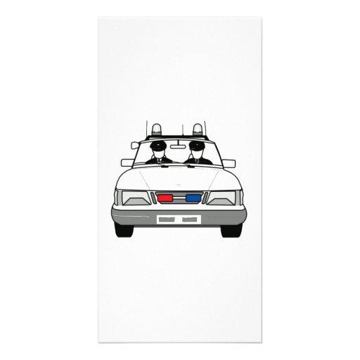 Cartoon Police Car Customized Photo Card