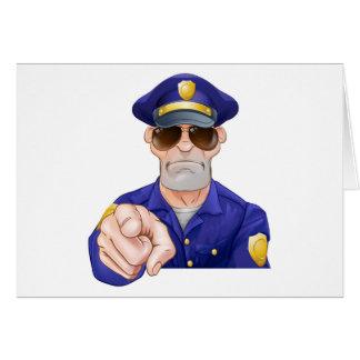 Cartoon Police Man Pointing Card