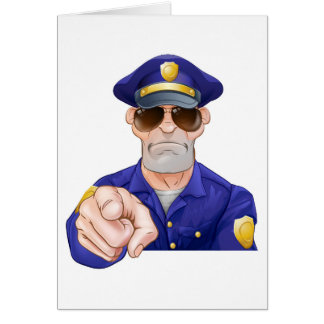 Cartoon Police Man Pointing Card