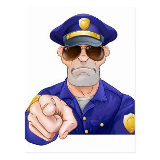 Cartoon Police Man Pointing Postcard