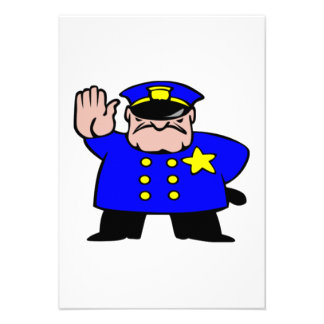Cartoon Police Officer Announcements