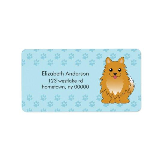 Cartoon Pomeranian Puppy Address Label