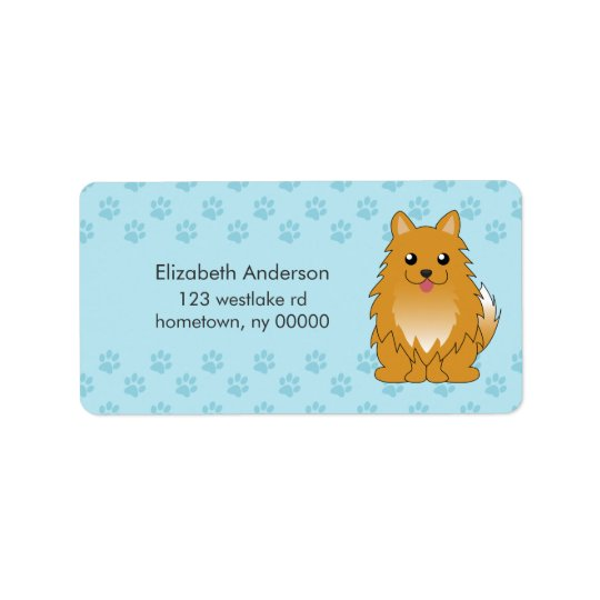 Cartoon Pomeranian Puppy Label