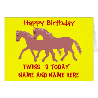 Cartoon ponies, smiling, twins birthday customize card