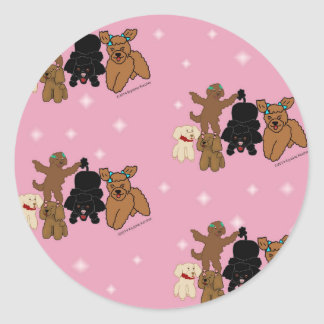 Cartoon Poodles and Stars on Pink Print Classic Round Sticker