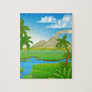 Cartoon Prehistoric Background Scene Landscape Puzzle