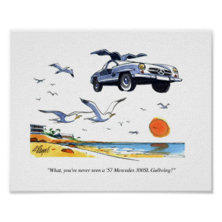 CARtoon print Gullwing Mercedes