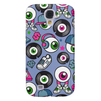CARTOON PSYCHEDELIC EYEBALL DJ Headphones & Kicks Samsung Galaxy S4 Case