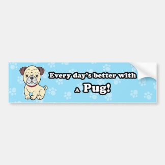 Cartoon Pug Bumper Sticker