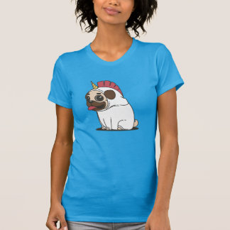 Cartoon Pug in Unicorn Costume Pugicorn T-Shirt