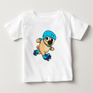 Cartoon pug on rollerblades baby T-Shirt