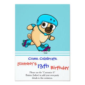 Cartoon pug on rollerblades card