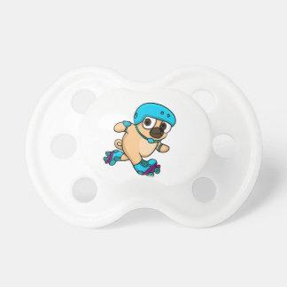 Cartoon pug on rollerblades dummy