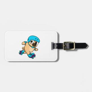 Cartoon pug on rollerblades luggage tag
