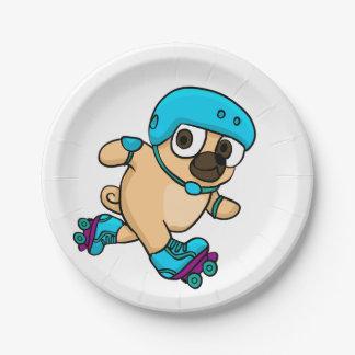 Cartoon pug on rollerblades paper plate