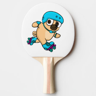 Cartoon pug on rollerblades ping pong paddle
