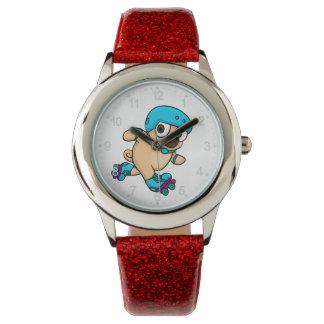 Cartoon pug on rollerblades watch