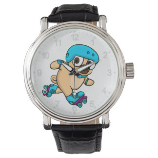 Cartoon pug on rollerblades watch