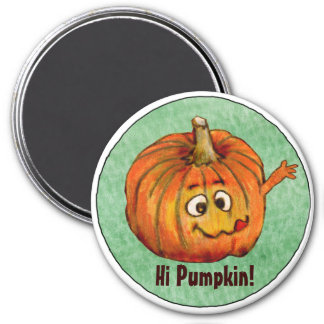 Cartoon Pumpkin Round Personalized Magnet
