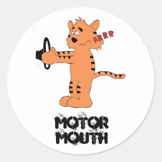 Cartoon Purring Tiger Round Sticker