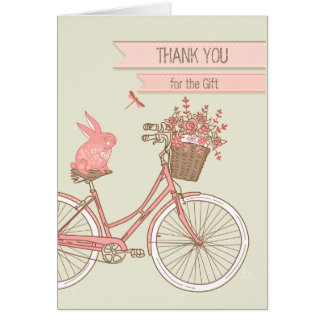 Cartoon Rabbit on Bicycle Thank You for Gift Retro Note Card