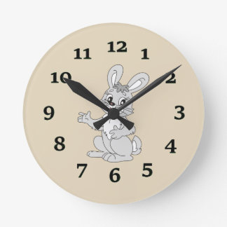 Cartoon Rabbit Round Clock