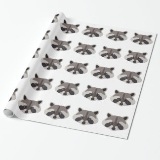 Cartoon Raccoon Head Wrapping Paper