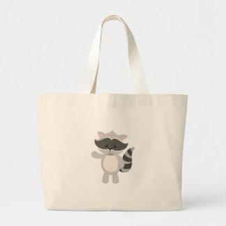 Cartoon Raccoon Waving Large Tote Bag