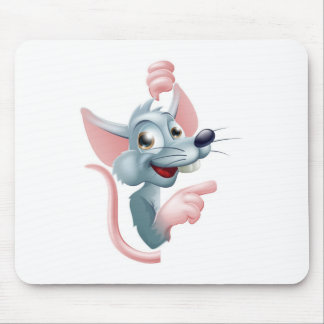 Cartoon Rat Pointing at Sign Mousepad