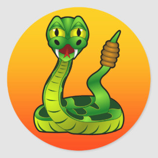 cartoon rattlesnake round sticker