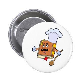 Cartoon recipe book pinback buttons