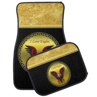 Cartoon red and black eagle with gold foil texture car mat