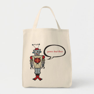 Cartoon Retro Robot Cute Kids Boy Birthday Party Bag