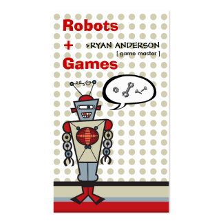 Cartoon Retro Robot Cute Kids Boy Birthday Party Business Card Template