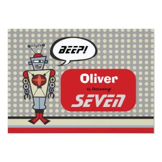 "Cartoon Retro Robot Cute Kids Boy Birthday Party 5"" X 7"" Invitation Card"