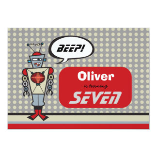 Cartoon Retro Robot Cute Kids Boy Birthday Party 13 Cm X 18 Cm Invitation Card