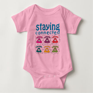 Cartoon Retro Telephones Colorful Funny Connected Baby Bodysuit
