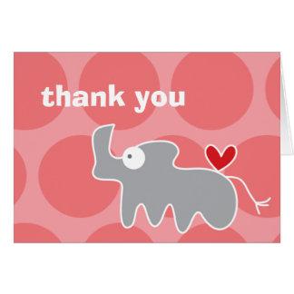 Cartoon Rhino Kid's Birthday Thank You Note Card